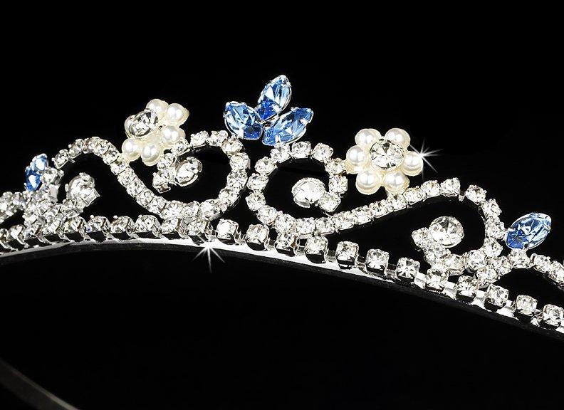 Silver Blue Crystal Pearl Floral Bridal Tiara