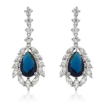 Sterling Silver Sapphire Blue CZ Drop Earrings