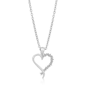 Classic Rhodium Necklace Heart CZ Pendant