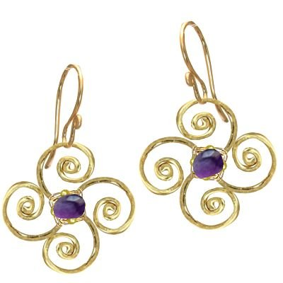 925 Sterling Silver Flower Amethyst Earrings