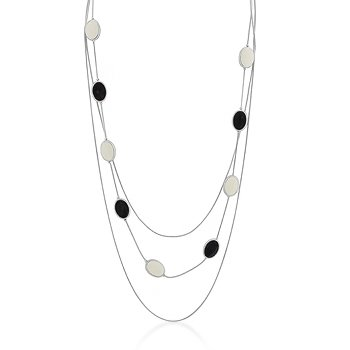 Rhodium Black Cream Multi-Chain Necklace