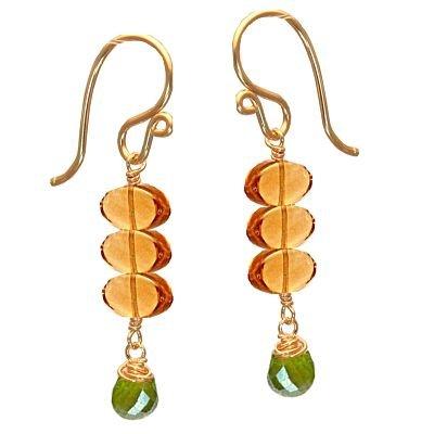925 Sterling Silver Amber Idocrase Dangle Earrings