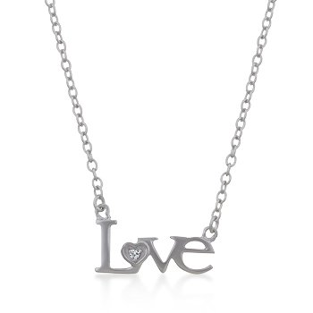Rhodium Necklace Love CZ Pendant