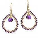 925 Sterling Silver Amethyst Wrapped Hoop Earrings
