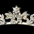 Silver Clear Crystal Floral Bridal Tiara