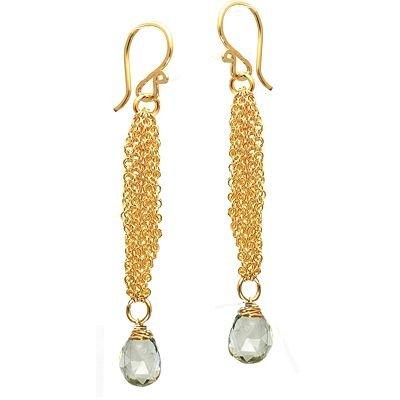925 Sterling Silver Chain Green Amethyst Earrings