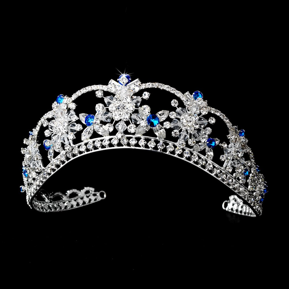 Silver Turquoise Swarovski Crystal Flower Bridal Tiara