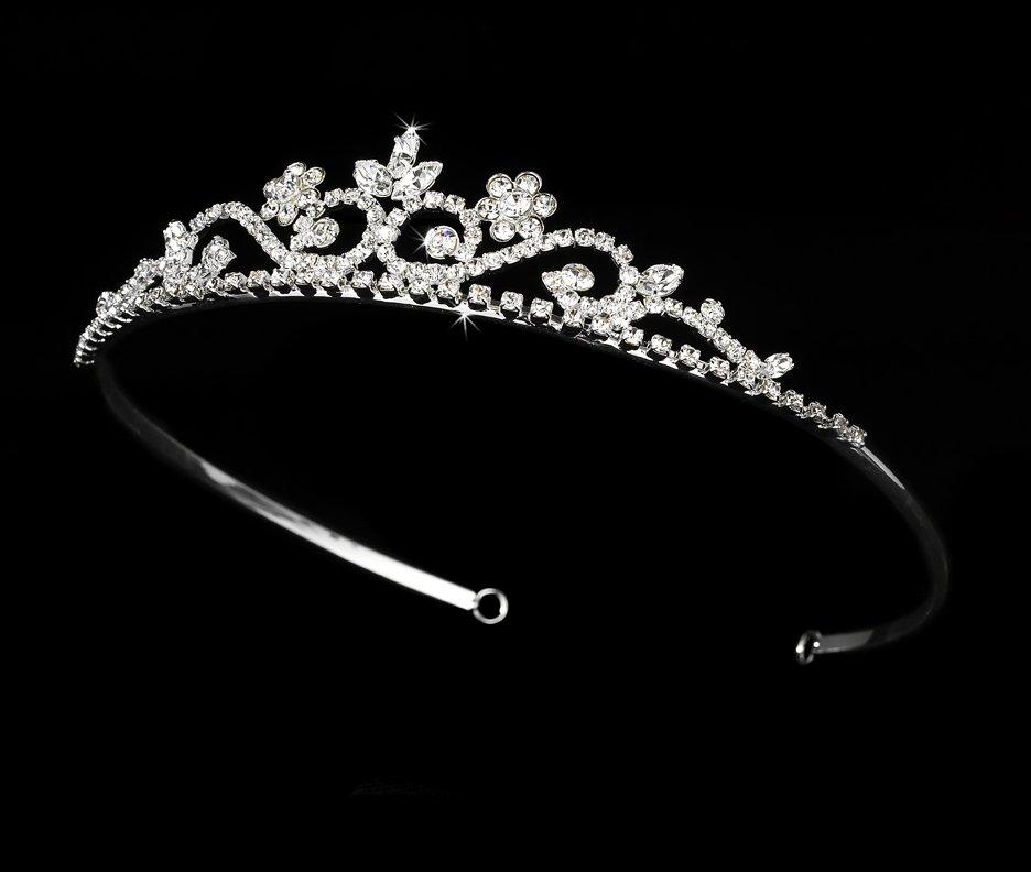 Silver Rhinestone Crystal Floral Bridal Tiara