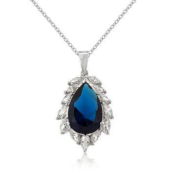 Sterling Silver Rhodium Sapphire CZ Necklace