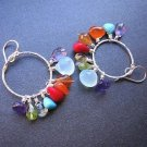925 Sterling Silver Multi Stone Hoop Earrings