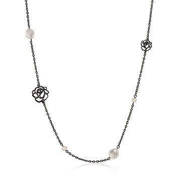 Freshwater Pearl Rose Black Fashion Necklace