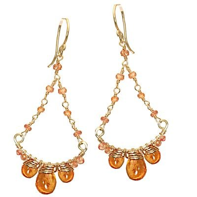 14K Gold Filled Swirl Mandarin Garnet Earrings