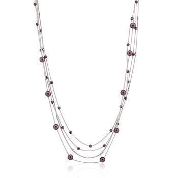 Rhodium Brown Red Bead Multi-Chain Necklace