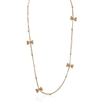 14K Gold White Pearl Bow Chain Necklace