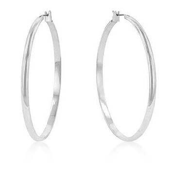 Rhodium Classic Hoop Earrings