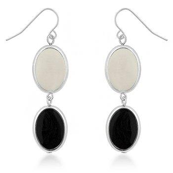 Rhodium Black Cream Drop Earrings