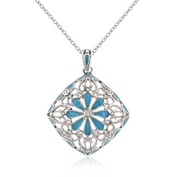 Rhodium Necklace Blue Floral CZ Pendant
