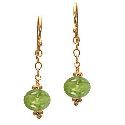 14K Gold Filled Chain Peridot Earrings