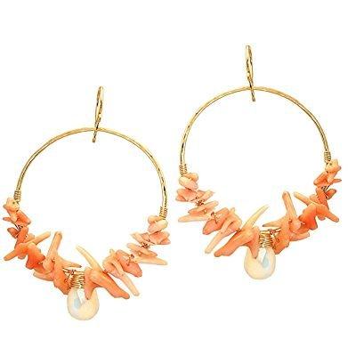 14K Gold Filled Coral Moonstone Hoop Earrings