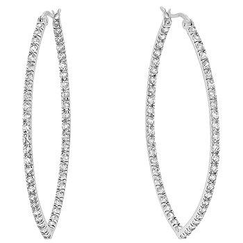 Sterling Silver Rhodium CZ Hoop Earrings