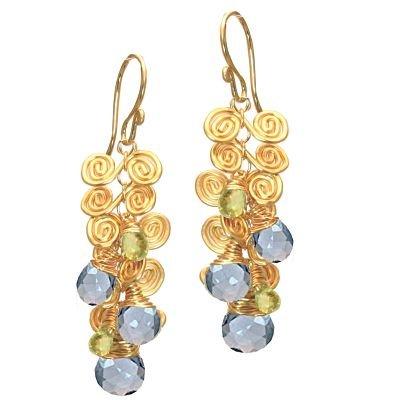 14K Gold Filled Peridot BlueTopaz Earrings