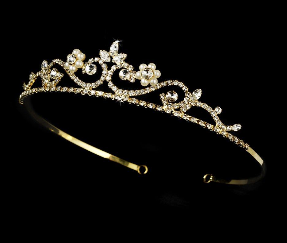 Gold Clear Crystal Pearl Floral Bridal Tiara
