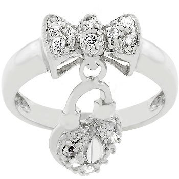 NEW White Gold Silver Ribbon Bow Dangling Heart Ring