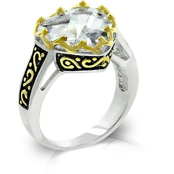 White Gold Rhodium14k Gold Bonded Heart Shape CZ Ring