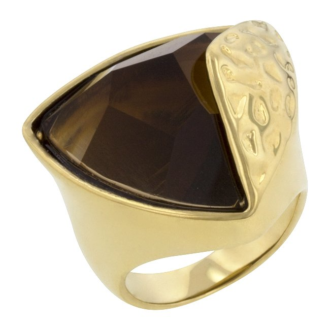 14k Gold Bonded Smokey Topaz Cocktail Ring