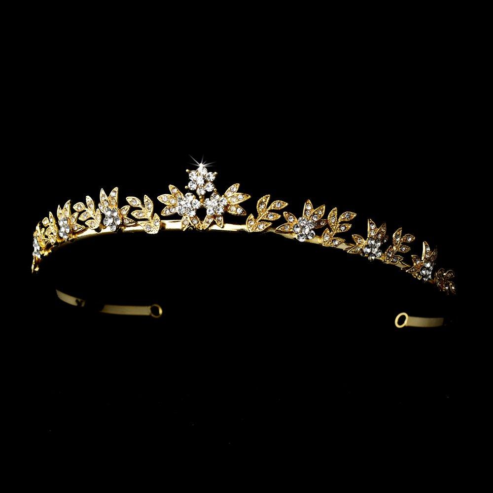 Gold Clear Rhinestone Crystal Tiara Headband