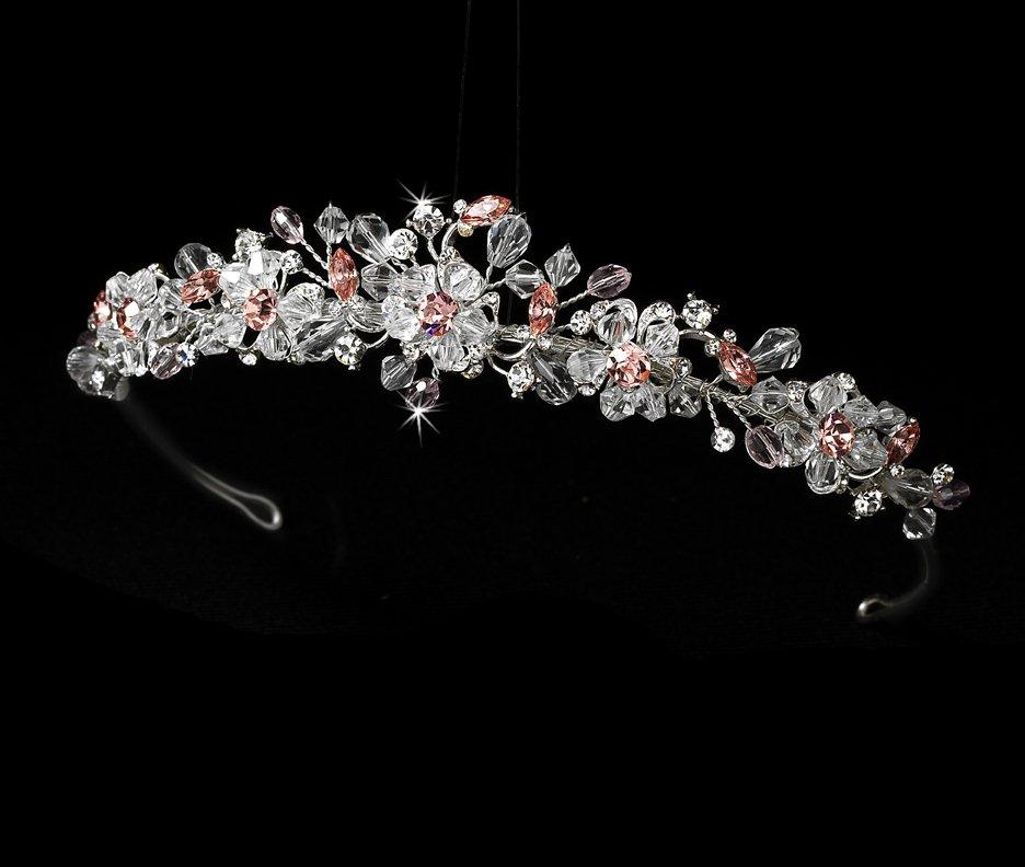 Silver Pink Swarovski Crystal Bridal Tiara Headband