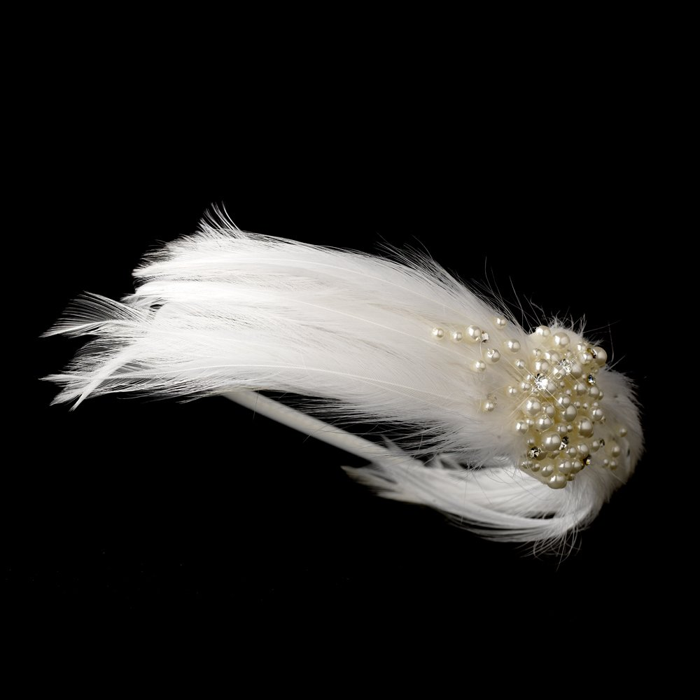 White Feather Pearl Crystal Bridal Headband Tiara
