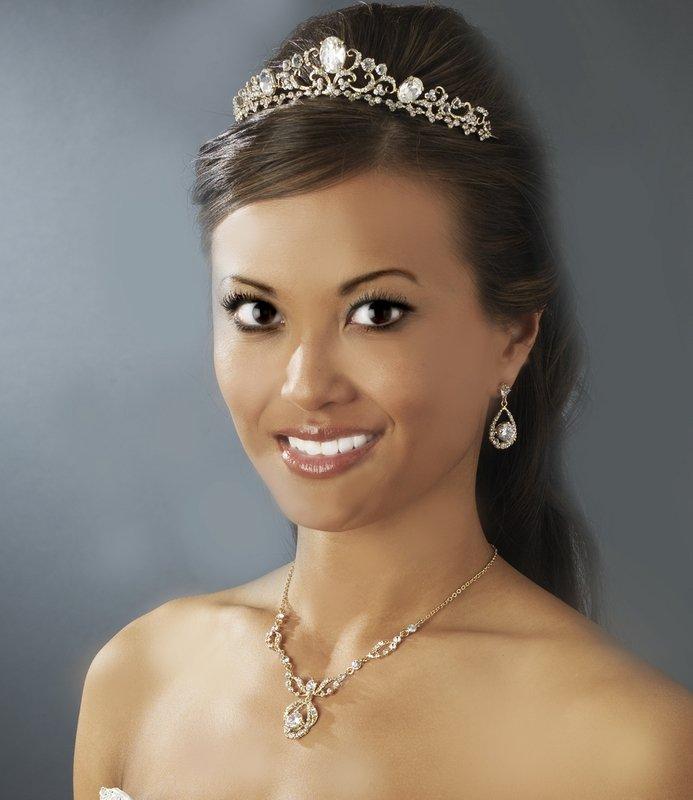 Gold Rhinestone Floral Bridal Tiara Headband