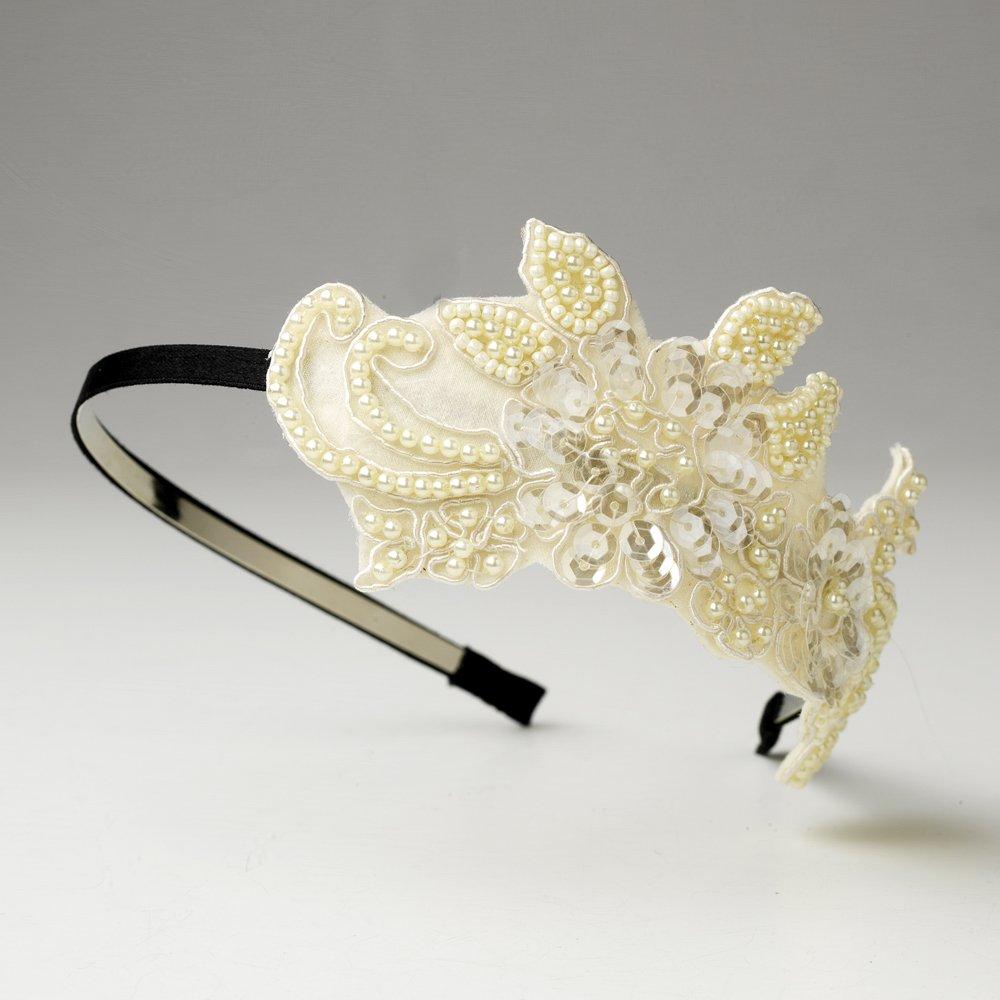 Ivory White Sequin Pearl Flower Black Headband
