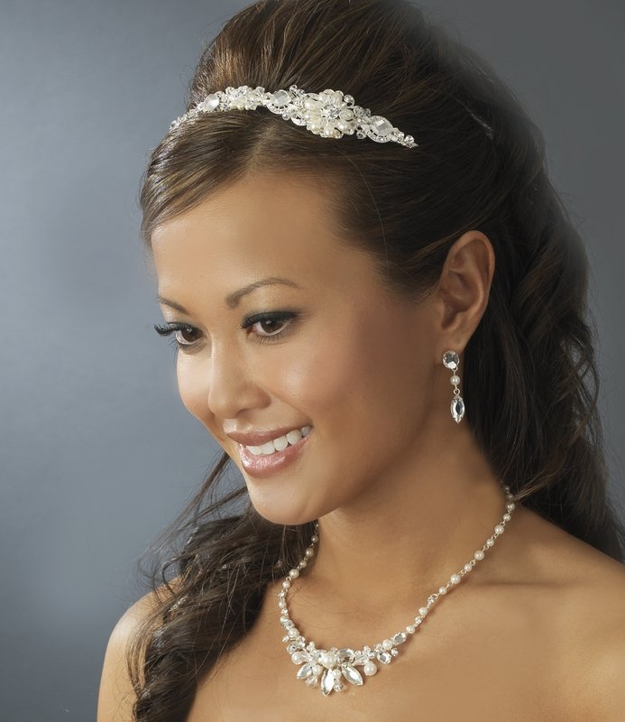 Silver Swarovski Crystal White Pearl Headband Tiara