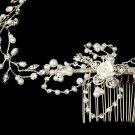 Silver Crystal Floral Vine Bridal Headband Tiara