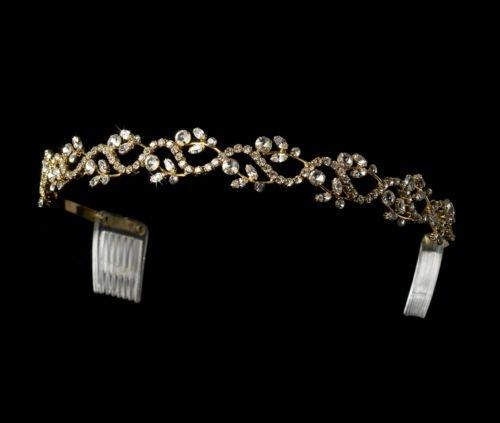 Gold Clear Rhinestone Floral Vine Headband Tiara