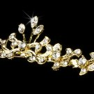 Gold Clear Rhinestone Crystal Floral Tiara Headband