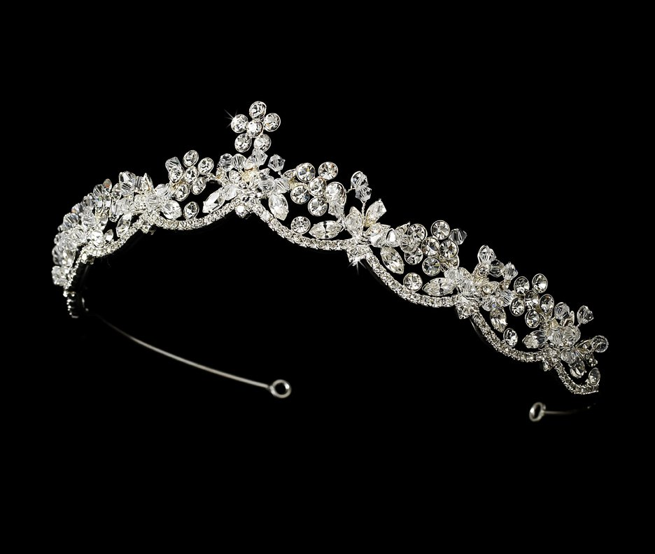 Silver Rhinestone Crystal Flower Tiara Headband