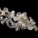 Silver Clear Crystal Pearl Bridal Headband Tiara