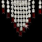 Silver  Red Crystal Chandelier Necklace Earring Set