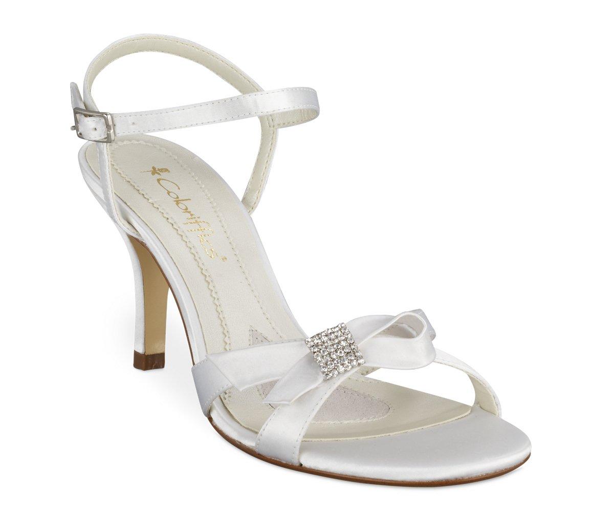 White Dyeable Satin Bow Rhinestone Bridal Shoes
