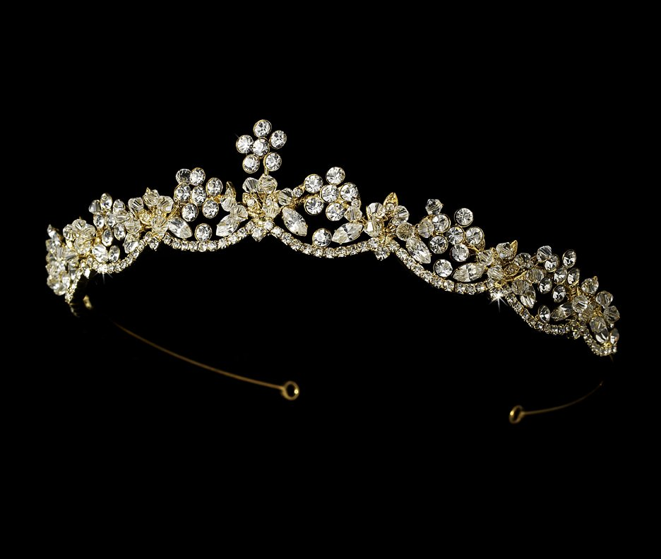Gold Rhinestone Crystal Flower Tiara Headband