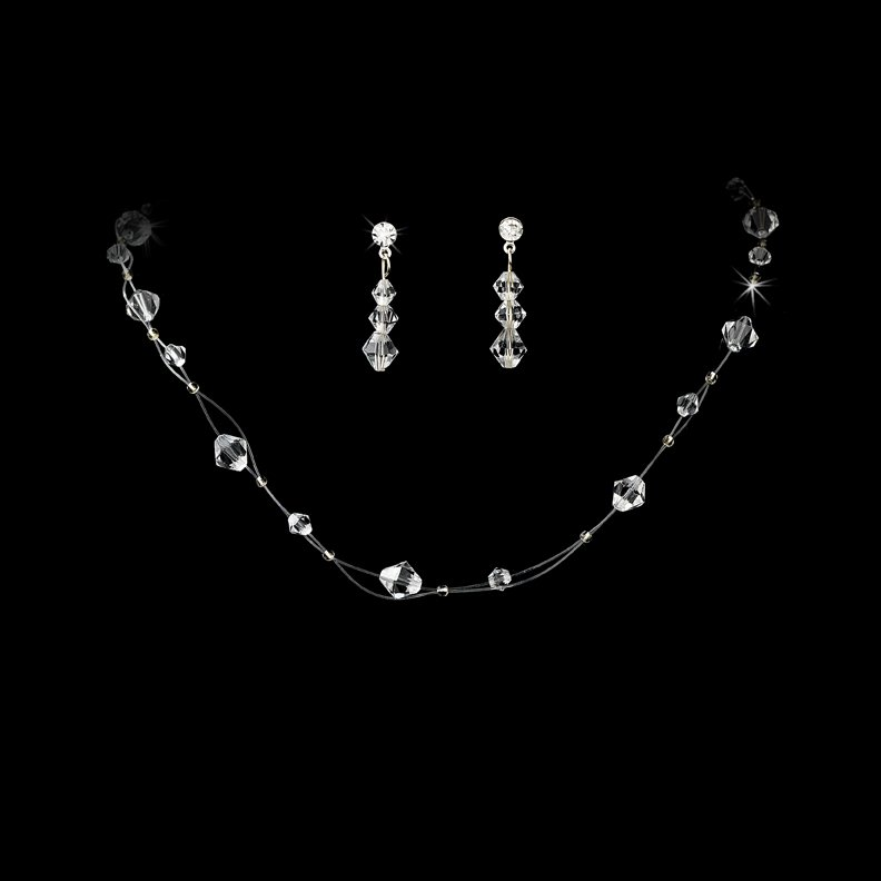 Clear Swarovski Crystal Illusion Necklace Earring Set