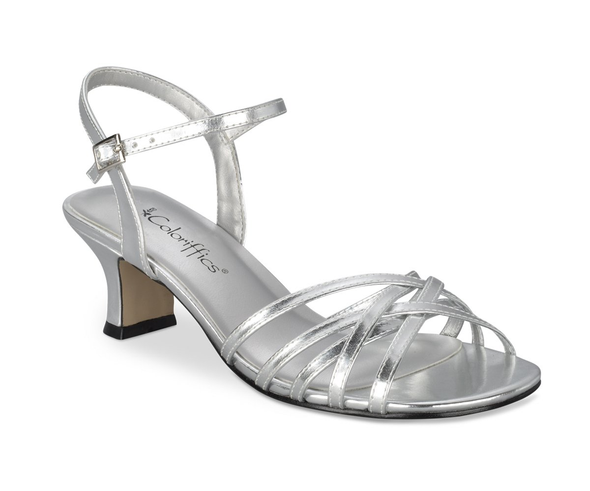Silver Metallic Strappy Low Heel Dress Shoes