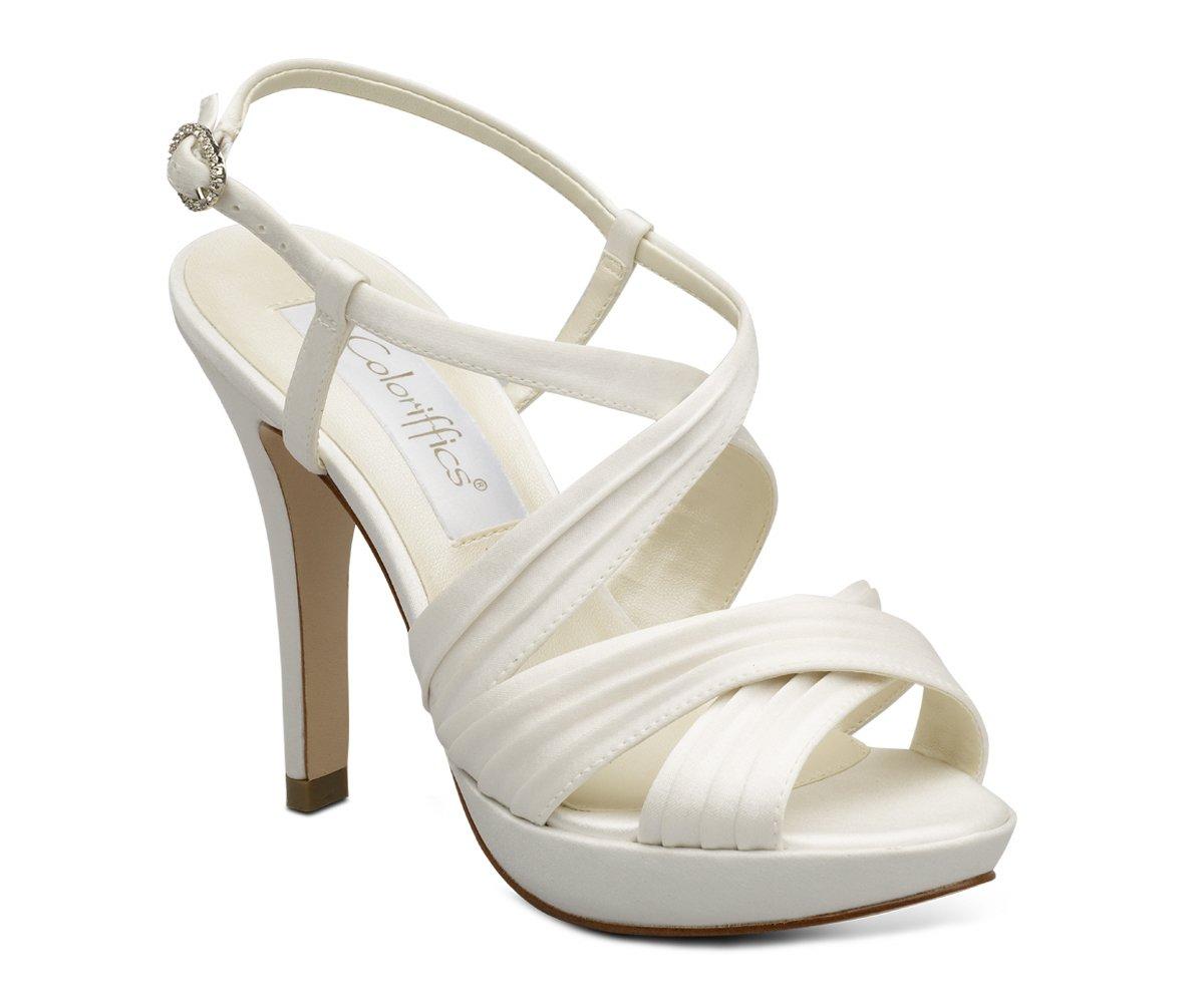 Ivory Satin Platform High Heel Prom Bridal Shoes