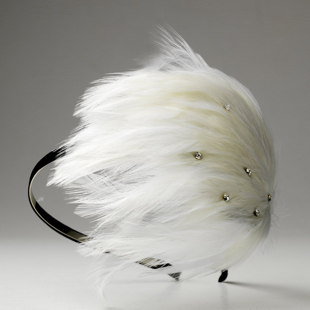 White Feather Austrian Crystal Black Headband
