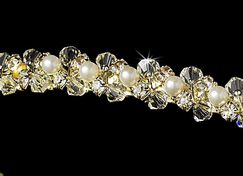 Gold Clear Swarovski Crystal Pearl Tiara Headband