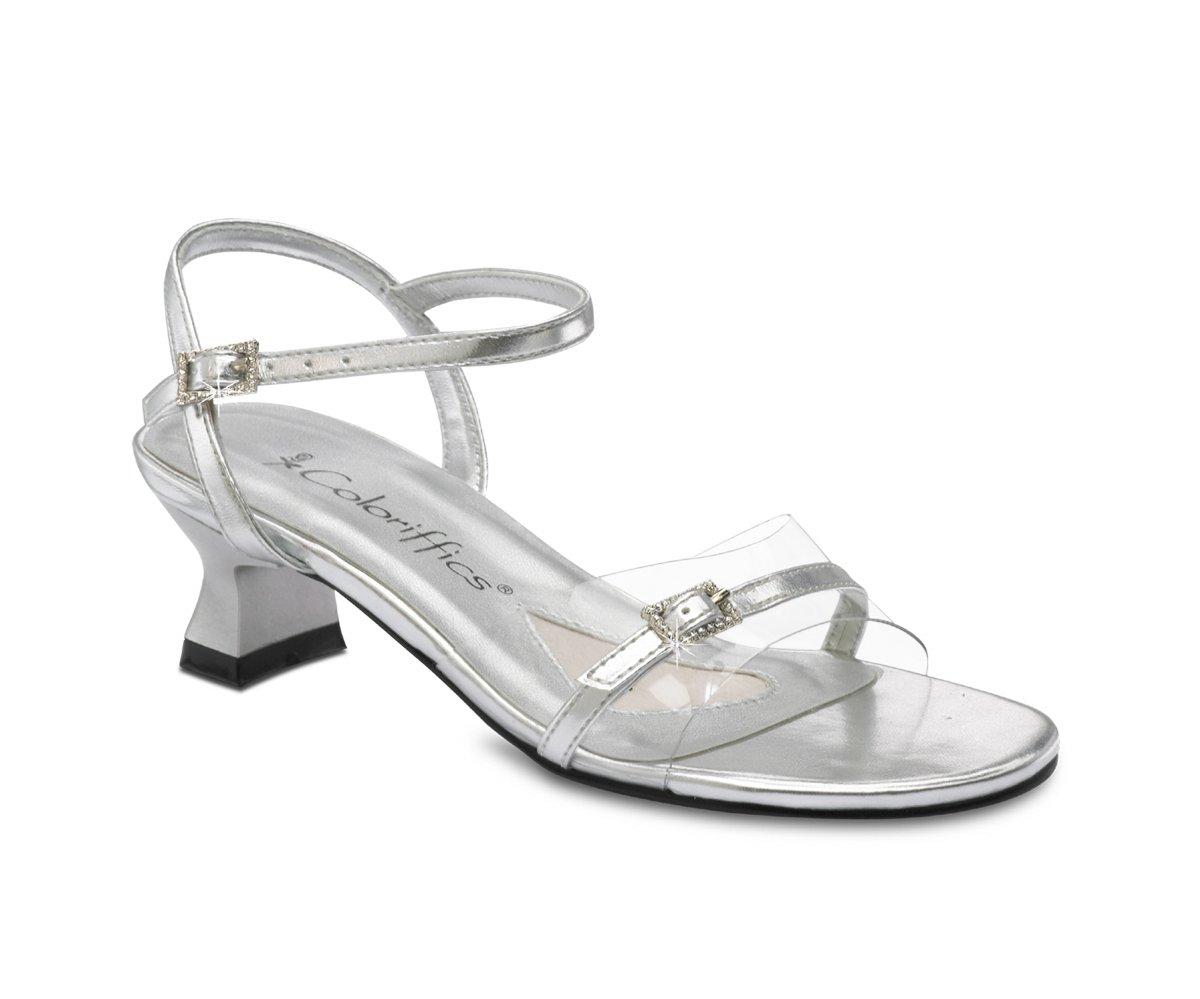 Silver Clear Vinyl Rhinestone Girls Sandal Dress Shoes