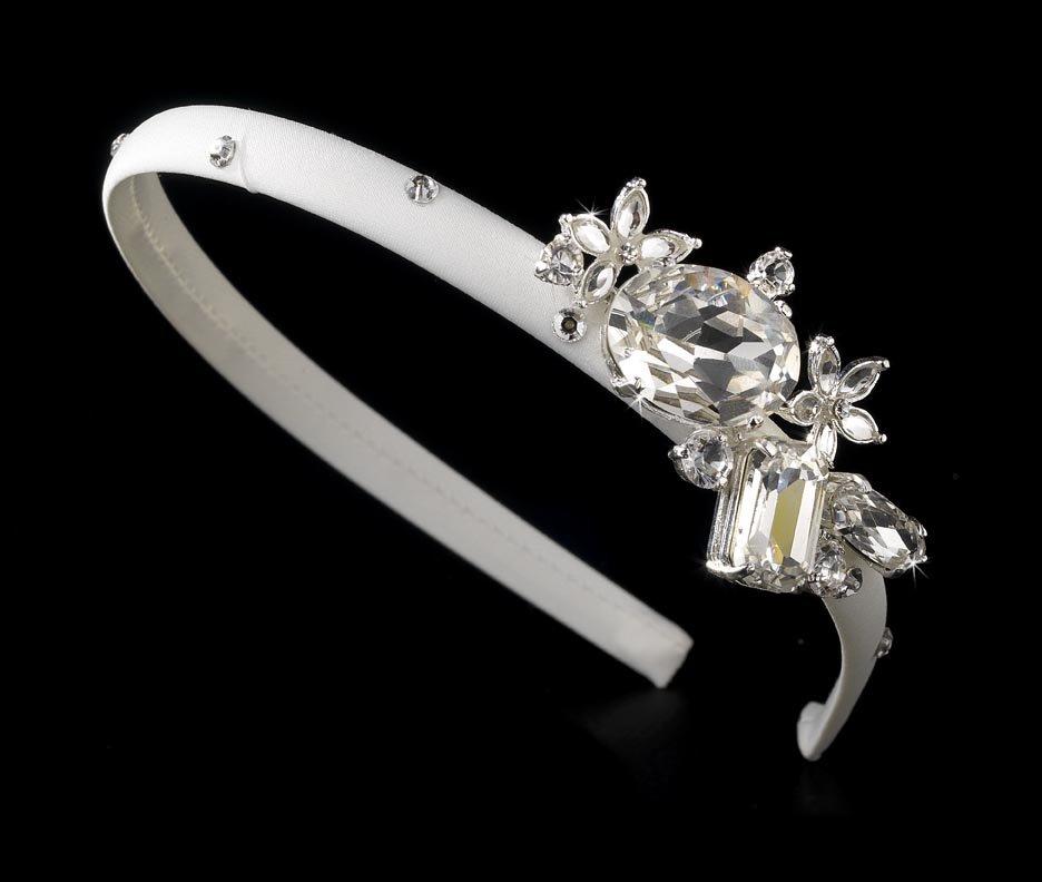 Silver Rhinestone Crystal White Matte Headband